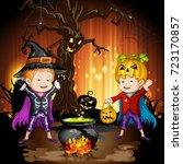 boys in halloween costume... | Shutterstock .eps vector #723170857