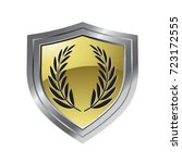 silver   gold color shield with ... | Shutterstock .eps vector #723172555