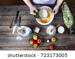 cooking food. the woman the... | Shutterstock . vector #723173005
