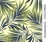 tropical palm leaves  jungle... | Shutterstock .eps vector #723174901