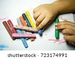 crayon or pastel colors on... | Shutterstock . vector #723174991