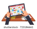 business man working on tablet... | Shutterstock .eps vector #723186661