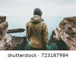 man traveler looking at cold... | Shutterstock . vector #723187984