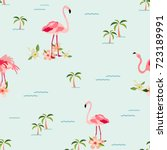 hawaiian tropical pattern with... | Shutterstock .eps vector #723189991