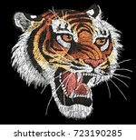tiger head embroidery  tiger... | Shutterstock .eps vector #723190285