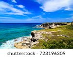 caribbean sea. blue sky. isla... | Shutterstock . vector #723196309