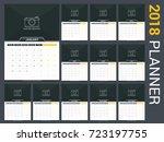 2018 calendar template  planner ... | Shutterstock .eps vector #723197755