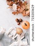 fall season flatlay in pastel... | Shutterstock . vector #723203629