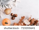 fall season flatlay in pastel... | Shutterstock . vector #723203641