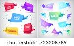 vector set of 3d origami...   Shutterstock .eps vector #723208789