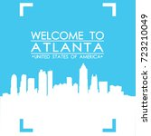 welcome to atlanta skyline city ... | Shutterstock .eps vector #723210049