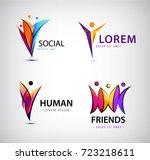 vector set of human logos. men... | Shutterstock .eps vector #723218611