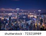 Small photo of Hong Kong wifi network connection network. Wifi network connection concept.