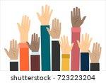 raised hands volunteering. flat ... | Shutterstock . vector #723223204