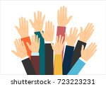raised hands volunteering. flat ... | Shutterstock . vector #723223231