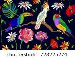 beautiful night tropical garden.... | Shutterstock .eps vector #723225274