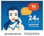 call center operator with... | Shutterstock .eps vector #723225451