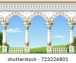 balcony of a fabulous palace in ... | Shutterstock .eps vector #723226801