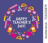 happy teacher day card...   Shutterstock .eps vector #723232879