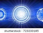 abstract blue hi tech digital... | Shutterstock . vector #723233185