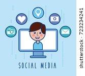 social media cartoon boy screen ... | Shutterstock .eps vector #723234241