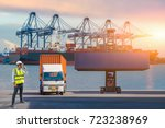 ship for container with working ... | Shutterstock . vector #723238969