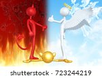 thumbs down devil thumbs up... | Shutterstock . vector #723244219
