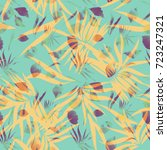 palm leaves seamless pattern... | Shutterstock . vector #723247321