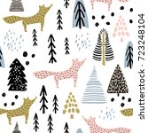 seamless winter pattern with... | Shutterstock .eps vector #723248104