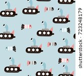 seamless pattern with cartoon... | Shutterstock .eps vector #723248179