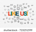 social network concept  painted ... | Shutterstock . vector #723251599