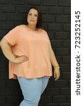 stunning fat girl with velvety... | Shutterstock . vector #723252145