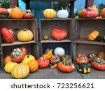 halloween pumpkin display with... | Shutterstock . vector #723256621