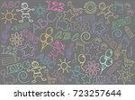 children drawings background | Shutterstock .eps vector #723257644