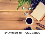top view desk wood and office... | Shutterstock . vector #723262807