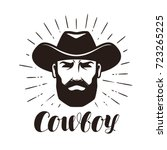 cowboy logo or label. portrait... | Shutterstock .eps vector #723265225