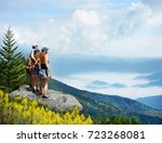 family hiking on vacation.... | Shutterstock . vector #723268081