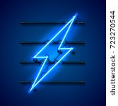 neon sign of lightning... | Shutterstock .eps vector #723270544
