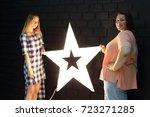 stunning fat girl with velvety... | Shutterstock . vector #723271285