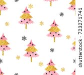 christmas trees pattern in pink ... | Shutterstock .eps vector #723271741