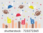 stadium crowd. raised hands... | Shutterstock .eps vector #723272365