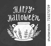 happy halloween. hand drawn... | Shutterstock .eps vector #723273739