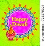 happy diwali light festival of... | Shutterstock .eps vector #723275329