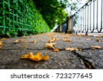 rainy autumn day in the city ... | Shutterstock . vector #723277645