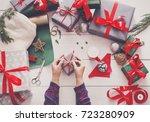 creative diy hobby. wrapping...   Shutterstock . vector #723280909