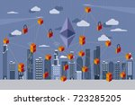 modern city  and digital... | Shutterstock .eps vector #723285205