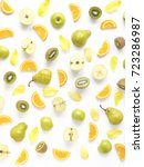 vertical composition of fruits... | Shutterstock . vector #723286987