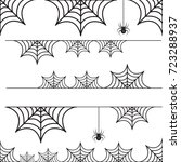 halloween set of border cobweb... | Shutterstock .eps vector #723288937