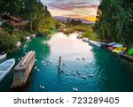 river of the natural lake... | Shutterstock . vector #723289405