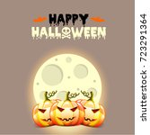 halloween postcard with pumpkins | Shutterstock . vector #723291364